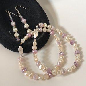 💕 Chakra Pearl Bracelet & Earrings